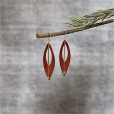 Lge Leaf w Stem Earrings Silver Copper-jewellery-The Vault