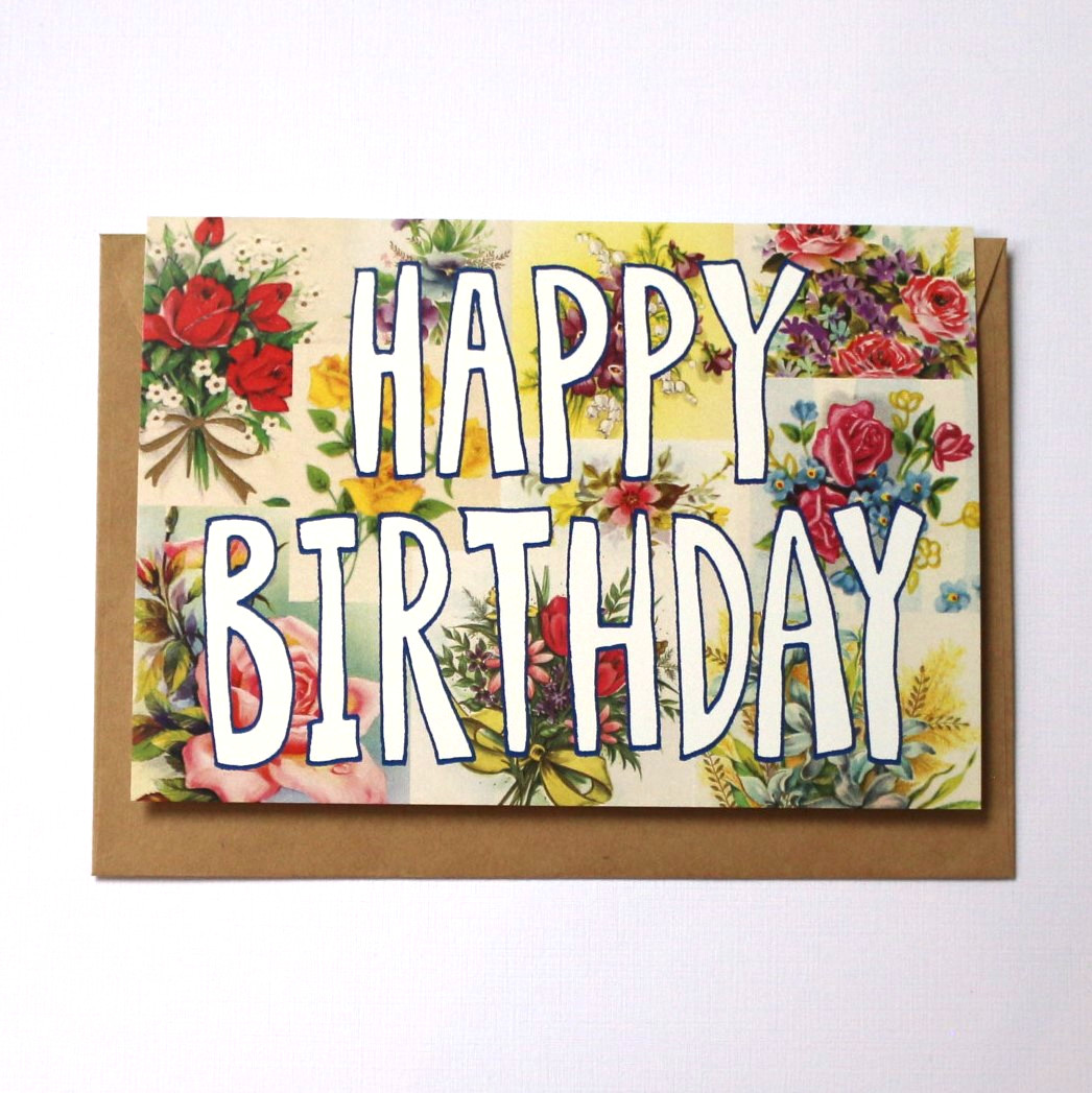 Vintage Floral Birthday Card - CARDS-All Occasions : The Vault - NZ