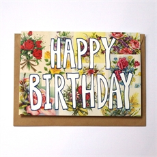 Vintage Floral Birthday Card-cards-The Vault