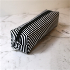 Box Pencil/Makeup Case Black Stripes-new-The Vault