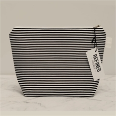 Large Makeup Bag Black Stripes-new-The Vault