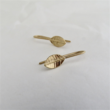 Tiny Leaf Drop Earrings Gold Plate