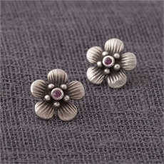 Jewelled Ruby Manuka Studs Silver-jewellery-The Vault