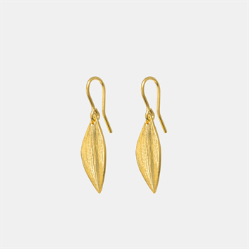 Leaf Earrings Short Hooks 22ct GP