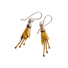 Kowhai Earrings Small Silver Gold Plate-jewellery-The Vault