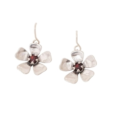 Manuka Flower Earrings Garnet-jewellery-The Vault