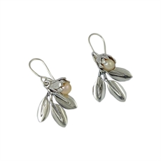 Silver Pearl with Silver Leaf Earrings-jewellery-The Vault