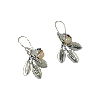 Silver Pearl and Silver Leaf Earrings