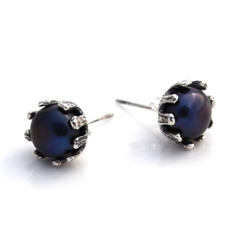 Crown Studs Silver Freshwater Pearl-jewellery-The Vault