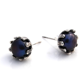Crown Studs Silver Freshwater Pearl