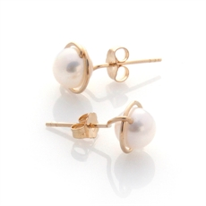 Gold Lulu Studs White Pearl-jewellery-The Vault