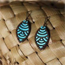 Laser Veneer Earrings Wave Teal -jewellery-The Vault