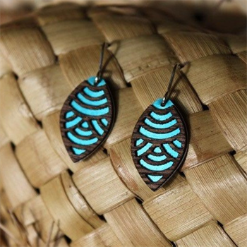 Laser Veneer Earrings Wave Teal