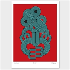 Red Tiki Limited Edition Print A3-totaea-rendell-The Vault
