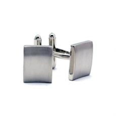 Plain Matted Silver Rectangle Cufflinks -for-him-The Vault