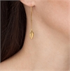Leaf Earrings Long Hooks 22ct Gold Plate-jewellery-The Vault