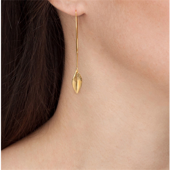 Leaf Earrings Long Hooks 22ct Gold Plate