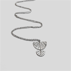 Double Half Leaf Disk Necklace Silver-jewellery-The Vault