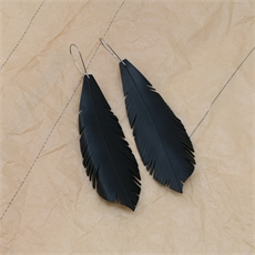 Up-Bicylced Feather Earrings Medium-jewellery-The Vault