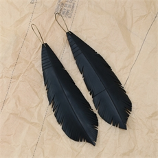 Up-Bicycled Feather Earrings Large-jewellery-The Vault