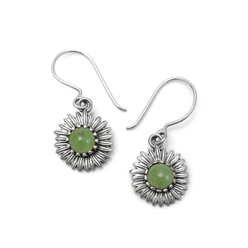 Daisy Silver & Greenstone Earrings